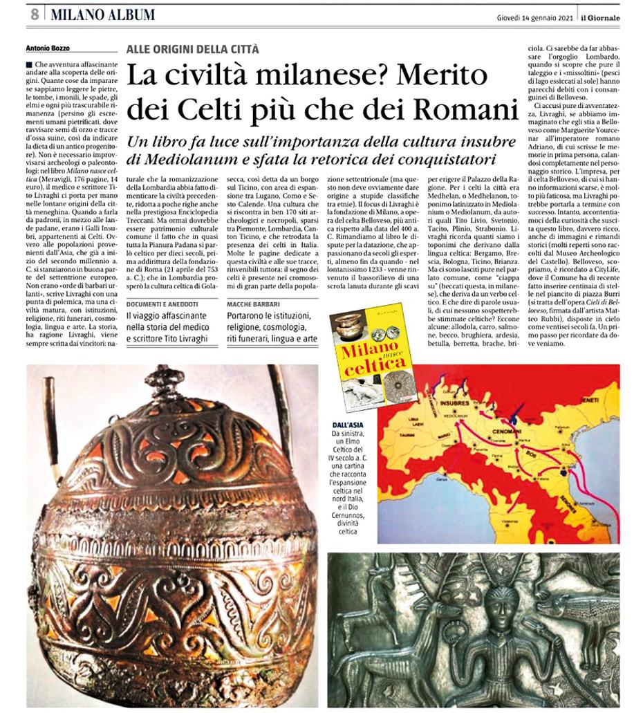 Milano nasce celtica – Recensione 14 Gennaio 2021